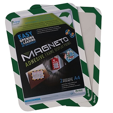 Tarifold Magneto Safety Frame, Self-Adhesive Backing, Green/White Border, 2/Pack