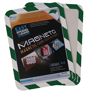 Tarifold Magneto Safety Frame, Magnetic Backing, Green/White Border, 2/Pack