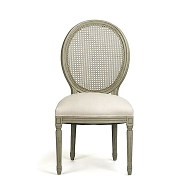 Zentique Medallion Solid Wood Dining Chair; Grey-Green