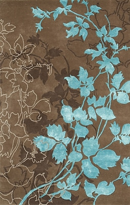 Noble House Dahlia Brown & Turquoise Area Rug; 7'9'' x 10'6''