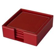 Dacasso Faux Leather 5 Piece Coaster Set; Rossa Red