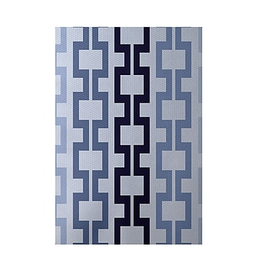 E By Design Geometric Blue Indoor/Outdoor Area Rug; Rectangle 3' x 5'