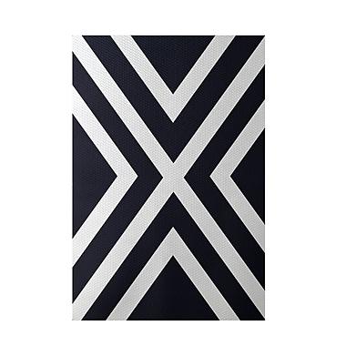 E By Design Stripe Navy Blue Indoor/Outdoor Area Rug; 3' x 5'