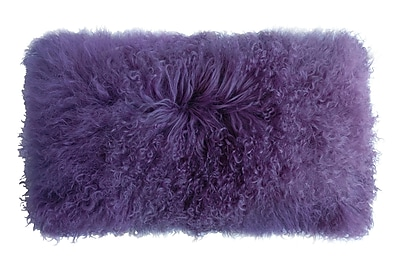 Fibre by Auskin Backed Tibetan Lambskin Lumbar Pillow; Lavender
