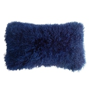 Fibre by Auskin Backed Tibetan Lambskin Lumbar Pillow; Cornsilk Blue
