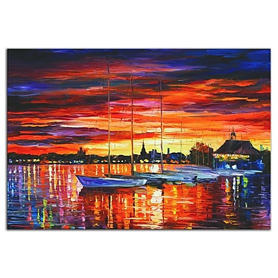 Metal Art Studio Helsinki Sailboats at Yacht Club by Leonid Afremov Painting Print Plaque