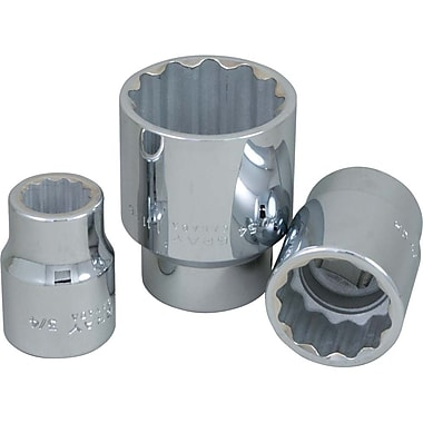 Gray Tools 12 Point Standard Length, Chrome Finish Sockets, Drive size: 3/4