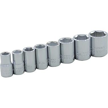 Gray Tools – Ensemble 8 pièces 1/4 po à 6 pans, SAE, longueur standard, ensemble de douilles fini chromé, 1/4 à 9/16 po