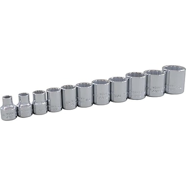 Gray Tools – Ensemble de 11 douilles chromées SAE standards à 12 pans, prise de 3/8 po, 1/4 à 7/8 po