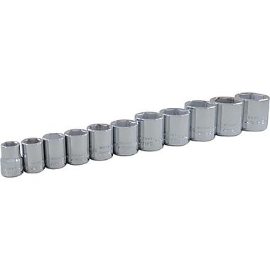 Gray Tools – Ensemble de 11 douilles à prise 3/8 po, 6 pans standard SAE chromé, 3/8 à 1 po