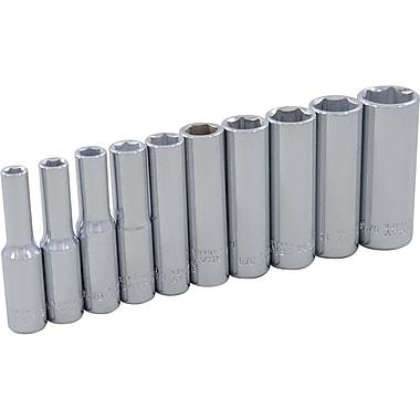 Gray Tools – Ensemble de 10 douilles à prise de 1/4 po chromées SAE standards à 6 pans de 3/16 à 9/16 po