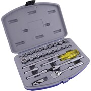 """Gray Tools 27 Piece 1/4"""" Drive, 6 Point SAE & Metric Standard, Chrome Socket & Attachment Set"""