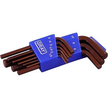 Gray Tools 9 Piece Metric, Short Arm S2 Hex Key Set, 1.5mm-10mm