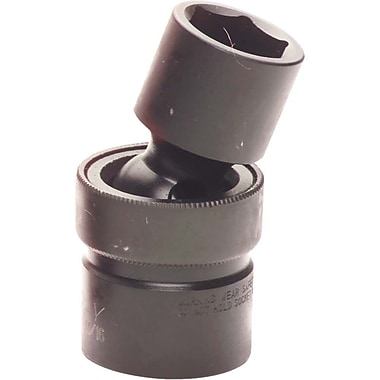 Gray Tools 6 Point Standard Length, Universal Joint Sockets, Black Impact, Drive size: 1/2
