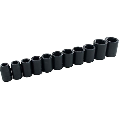 Gray Tools – Ensemble de 11 douilles à choc SAE standards à 6 pans, prise de 1/2 po, 3/8 po à 1 po