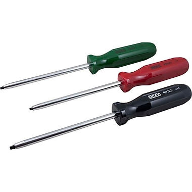 Gray Tools 3 Piece Square Recess Screwdriver Set, No.1, No.2 & No.3