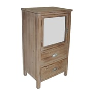 Cheungs 2 Drawer Wood Cabinet w/ Mixed Knobs and Bevelled Mirrored Door