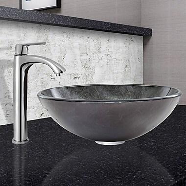 Vigo Gray Onyx Glass Circular Vessel Bathroom Sink w/ Faucet