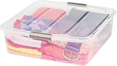 IRIS® 33 Quart Buckle Up Square Box, Clear, 6 Pack (100702)