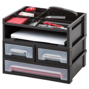 IRIS® USA, Inc. Desktop Set with Organizer Top, Black (150077)