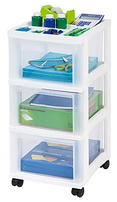 IRIS® 3-Drawer Storage Cart, White, 2 Pack (116836)