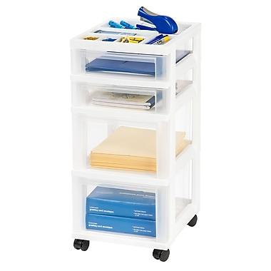IRIS® 4-Drawer Storage Cart, White, 2 Pack (116840)