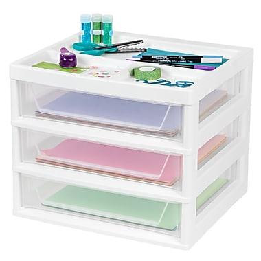 IRIS® 3-Drawer Scrapbook Storage Chest, White, 4 Pack (150690)