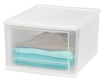IRIS® 17 Quart Medium Stacking Drawer, White, 4 Pack (129801)