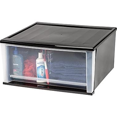 IRIS® 51 Quart Extra Large Stacking Drawer, Black, 2 Pack (129807)