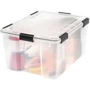 IRIS® 62 Quart Weathertight Plastic Storage Box, Clear, 4 Pack (110550)