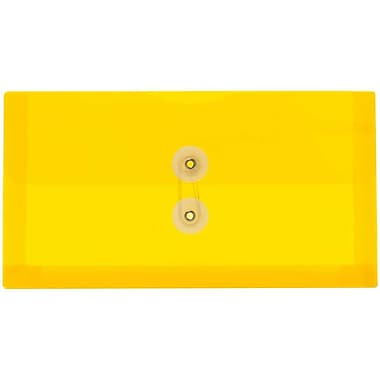 JAM Paper® #10 Plastic Envelopes with Button and String Tie Closure, 5 1/4 x 10, Yellow Poly, 12/pack (921B1YE)