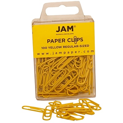 JAM Paper® Colored Standard Paper Clips, Small, Yellow Paperclips, 100/pack (2183756)