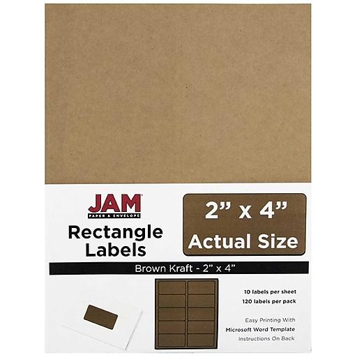 jam paper mailing address labels 2 x 4 brown kraft 120 pack