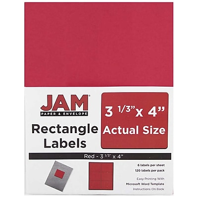 JAM Paper® Mailing Address Labels, 3 1/3 x 4, Red, 120/Pack (14516067)