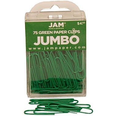 JAM Paper® Colored Jumbo Paper Clips, Large, Green Paperclips, 75/pack (42186878)
