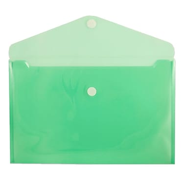 JAM Paper® Plastic Envelopes with VELCRO® Brand Closure, Legal Booklet, 9.75 x 14.5, Green Poly, 12/Pack (235827783)