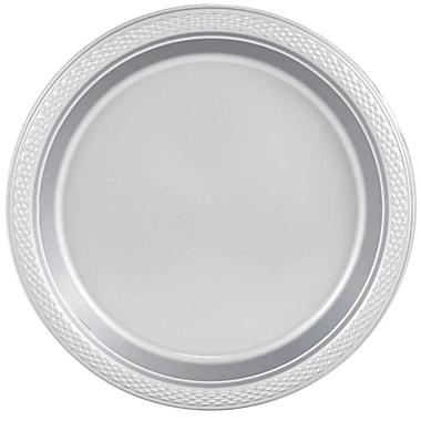 JAM Paper – Assiettes en plastique rondes, moyenne, 9 po, argenté, 200/paquet (255325375b)