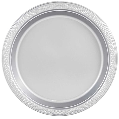 //.staples-3p.com/s7/is/  sc 1 st  Staples & JAM Paper® Round Plastic Plates Medium 9 Inch Silver 20/pack ...