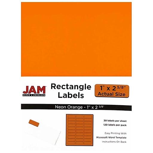 jam paper mailing address labels 1 x 2 5 8 neon orange 120 pack