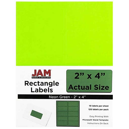 jam paper mailing address labels 2 x 4 neon green 120 pack