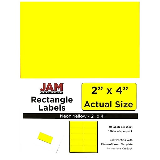 jam paper mailing address labels 2 x 4 neon yellow 120 pack