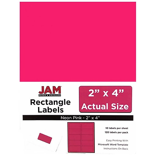 jam paper mailing address labels 2 x 4 neon pink 120 pack