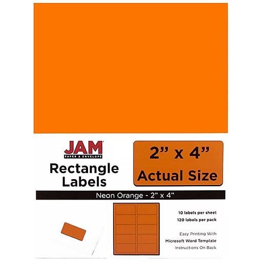 jam paper mailing address labels 2 x 4 neon orange 120 pack