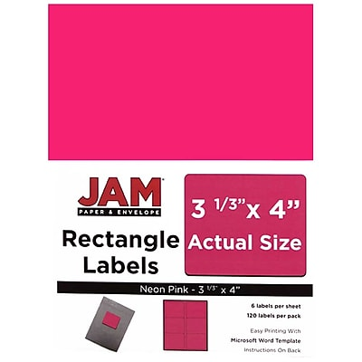 JAM Paper® Mailing Address Labels, 3 1/3 x 4, Neon Pink, 120/pack (354328046)