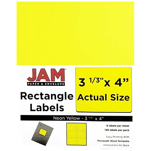 jam paper mailing address labels 3 1 3 x 4 neon yellow 120 pack