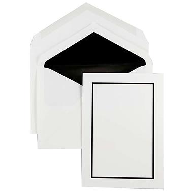JAM Paper® Colorful Border Stationery Set, 52 Large Cards and 50 Envelopes, Black (2237719069)