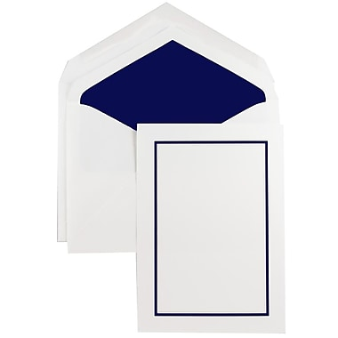 JAM Paper® Colorful Border Stationery Set, 52 Large Cards and 50 Envelopes, Navy Blue (2237719072)