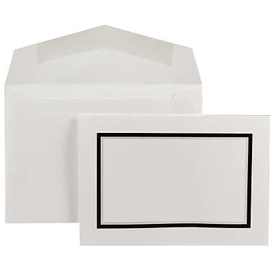 JAM Paper® Colorful Border Stationery Set, 104 Small Cards and 100 Envelopes, Black (2237719075)