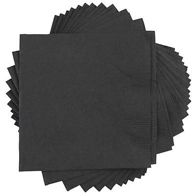 JAM Paper® Small Beverage Napkins, Small, 5 x 5, Black, 50/Pack (5255620715)