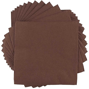 JAM Paper® Square Lunch Napkins, Medium, 6.5 x 6.5, Chocolate Brown, 50/pack (6255620720)